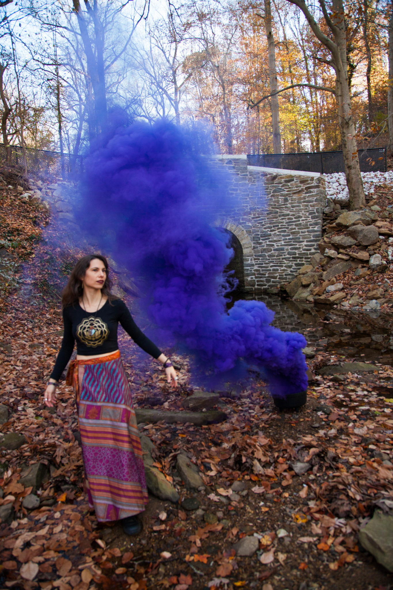 Witchy, smoke bomb portrait