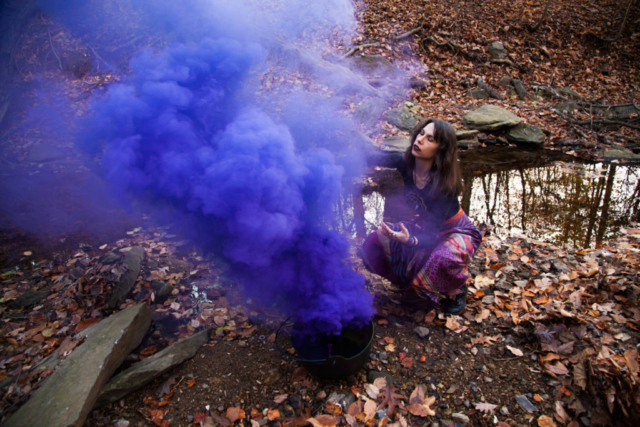 Witchy, purple smoke bomb portrait
