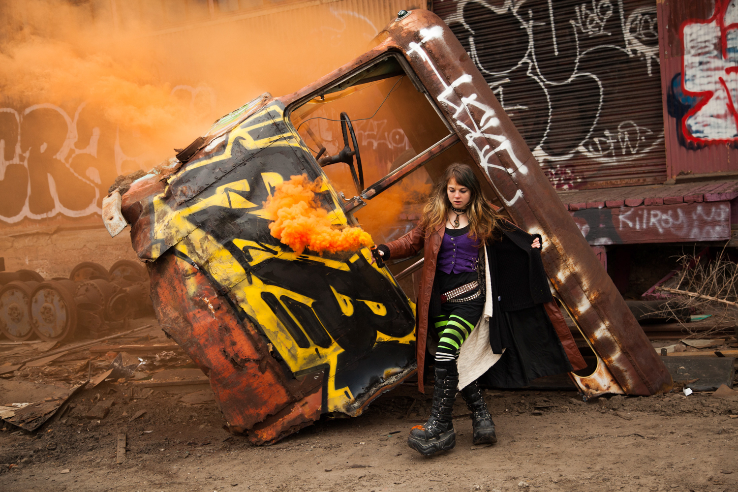 Steampunk alternative fashion, orange smoke bomb photography