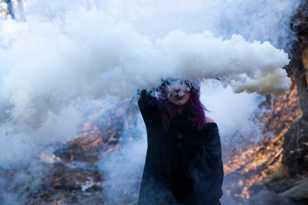 white smoke bomb photography, witch